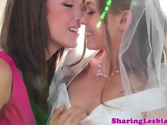 Lesbian bride seduced by her bridesmaids