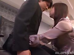 Nice Maki Hokujo sucks a dick and gives a handjob
