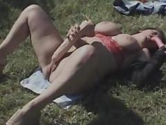 Sweet fat brunette fuck herself with dildo