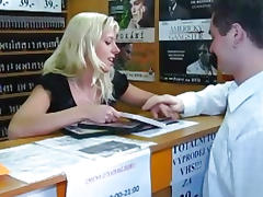Quick sex in a DVD store tube porn video