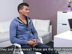 Amateur muscled dude fucks a female agent in her office