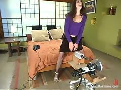 Hot Brunette Lena Ramon Enjoying Machine Sex in Solo Video