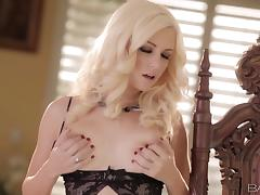 Gorgeous blond sex doll wants to lure you in her bed