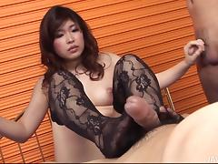 footjob and cock stroking by japanese girl