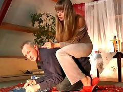 Blonde chick performs pony play and gets banged by a grandpa tube porn video