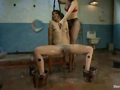 Curly Bianca Stone gets wired and toyed by Bobbi Starr