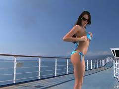 Slender Kortney Kane rides big cock on a ship deck