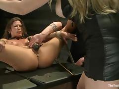 Mistress Aiden Starr bangs her slave Ariel X with a strapon