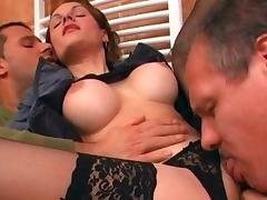 Gal with fake tits gets double penetration in the office