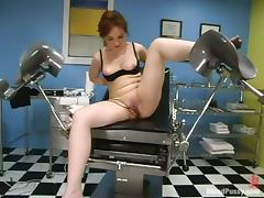 Bounded redhead girl gets toyed hard and deep