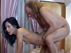 Sexy brunette Marjory banging with an old man