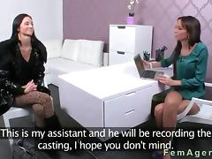 Slim stunning brunette gets pussy licked during casting