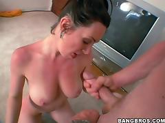 Brunette with bikini tan lines is on a huge cock