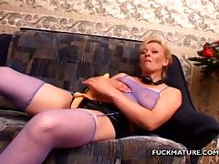 Mature blonde Donna gets fucked and facialed by three men