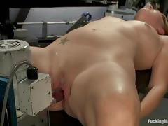 Danika Lamb gets her pierced pussy pounded by a fucking machine