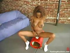 Tierra gets her sweet black pussy smashed by her new fucking machine porn tube video