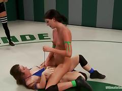 Two slim brunette chicks fight and fuck in a ring tube porn video