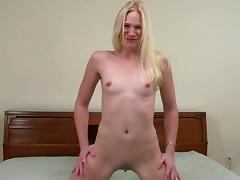 Titless blonde Aaliyah Jolie sucks a BBC before taking a ride on it