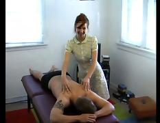 Busty brunette chick demonstrates her awesome handjob skills