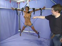 Poor ebony mollycoddle is being fucked in burnish apply BDSM