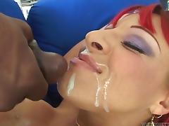 Busty strumpet with dyed hair gets their way cunt ripped apart at the end of one's tether diabolical brace