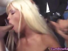 Blonde gets bukkake check b determine sucking