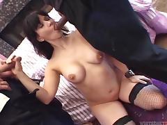 Smoking hot brunette chick loves yoke gigantic cocks