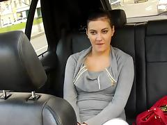 Lilly is sucking driver's dick in be passed on passenger car