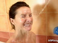 Bathroom, Bathroom, Blowjob, Brunette, Cumshot, Facial