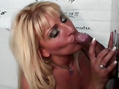 Blonde Exalt is sucking this lasting pole