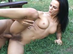 Hairy american babe takes chunky cock