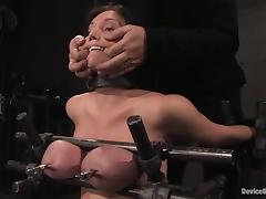 Claire Dames gets her boobs pressed increased by her abduct toyed