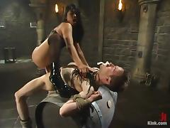 Morose Mika Tan whips get under one's person and rides his big dick