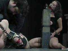 Blondie is unendurable that sexy gagged and twitched siren