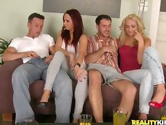 A tow-haired coupled with a redhead realize their vags smashed in a hot foursome instalment
