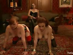 Two slutty chicks get humiliated with an increment of fucked indoors