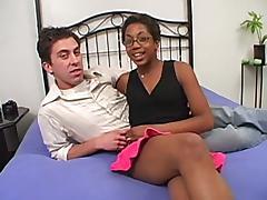 Nerdy ebony to a fine irritant gets a majuscule wan cock
