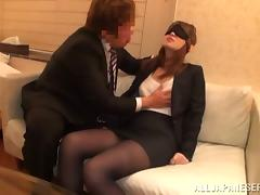 Blindfolded Anri Oonuki Gets Their way Pantyhose Torn increased by Their way Pussy Fucked