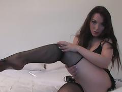 Stunning brunette Jade fishnet stockings