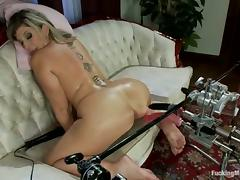 Big breasted Sara Potter about gets toyed by a machine tube porn video