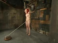 Racy redhead Sabrina Sparx gets tied and gagged