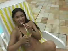 Poolside threesome all over two booty Brazilian pair