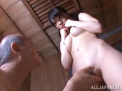 Pigtailed Japanese adolescent gets face fucked hard by grey lady's man