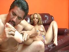 Melrose Foxxx gives a hallowed footjob to Frankie Chingon