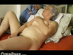 Old chubby Granny masturbate herself with a toy