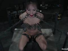 Clothespinned added to chained Jandi Lin gets toyed firm