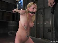 Blindfolded babe is being poked in the subjugation tube porn video