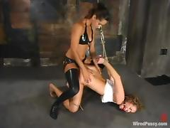 Curly wholesale gets toyed with a strap-on apropos femdom video