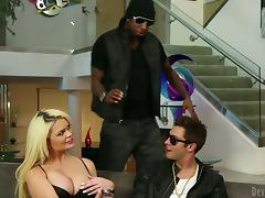 Curvaceous blonde skirt gets fucked by two big guys
