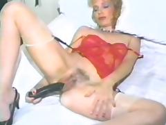 Hairy retro masturbation